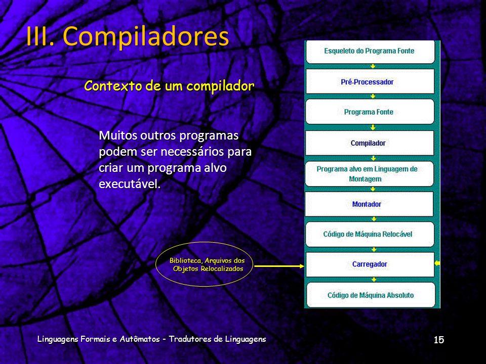 Modelo Análise-Síntese da compilação 14 Linguagens Formais e Autômatos - Tradutores de Linguagens III. Compiladores