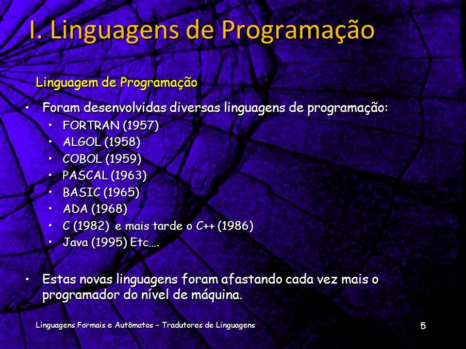 Foram desenvolvidas diversas linguagens de programação:Foram desenvolvidas diversas linguagens de programação: FORTRAN (1957)FORTRAN (1957) ALGOL (1958)ALGOL (1958) COBOL (1959)COBOL (1959) PASCAL (1963)PASCAL (1963) BASIC (1965)BASIC (1965) ADA (1968)ADA (1968) C (1982) e mais tarde o C++ (1986)C (1982) e mais tarde o C++ (1986) Java (1995) Etc….Java (1995) Etc….