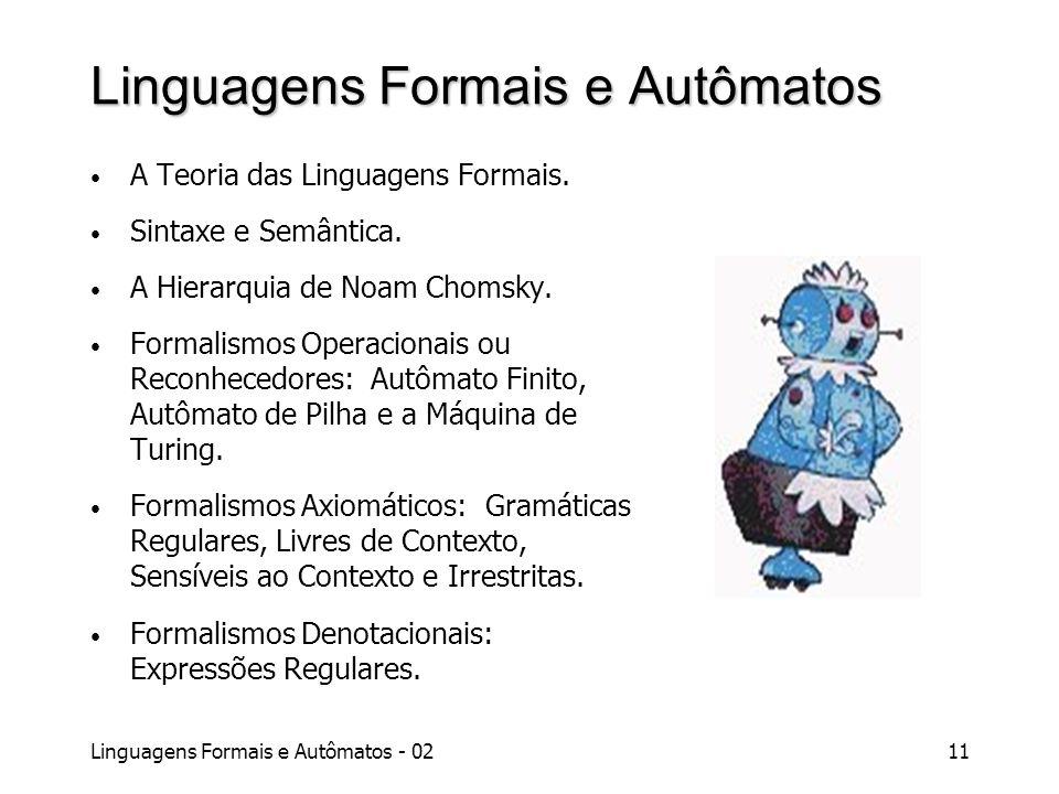 Linguagens Formais e Autômatos - 0211 Linguagens Formais e Autômatos A Teoria das Linguagens Formais. Sintaxe e Semântica. A Hierarquia de Noam Chomsk