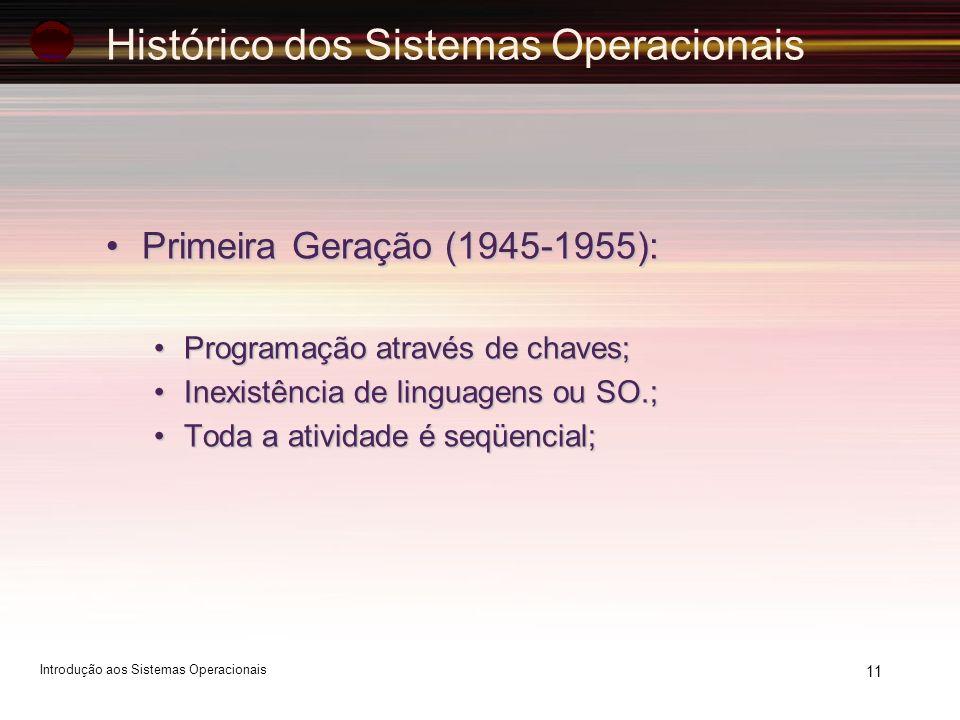 Histórico dos Sistemas Operacionais Primeira Geração (1945-1955):Primeira Geração (1945-1955): Programação através de chaves;Programação através de ch