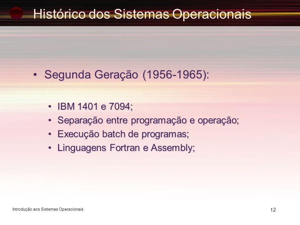 Histórico dos Sistemas Operacionais Segunda Geração (1956-1965):Segunda Geração (1956-1965): IBM 1401 e 7094;IBM 1401 e 7094; Separação entre programa