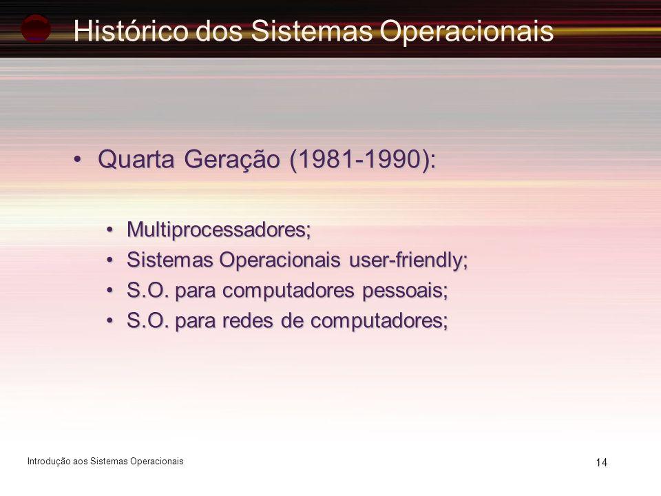 Histórico dos Sistemas Operacionais Quarta Geração (1981-1990):Quarta Geração (1981-1990): Multiprocessadores;Multiprocessadores; Sistemas Operacionai