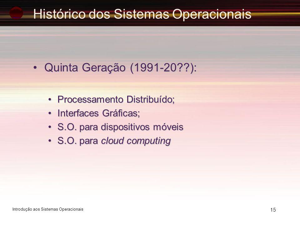 Histórico dos Sistemas Operacionais Quinta Geração (1991-20??):Quinta Geração (1991-20??): Processamento Distribuído;Processamento Distribuído; Interf