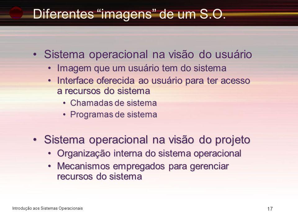 17 Diferentes imagens de um S.O. Sistema operacional na visão do usuárioSistema operacional na visão do usuário Imagem que um usuário tem do sistemaIm