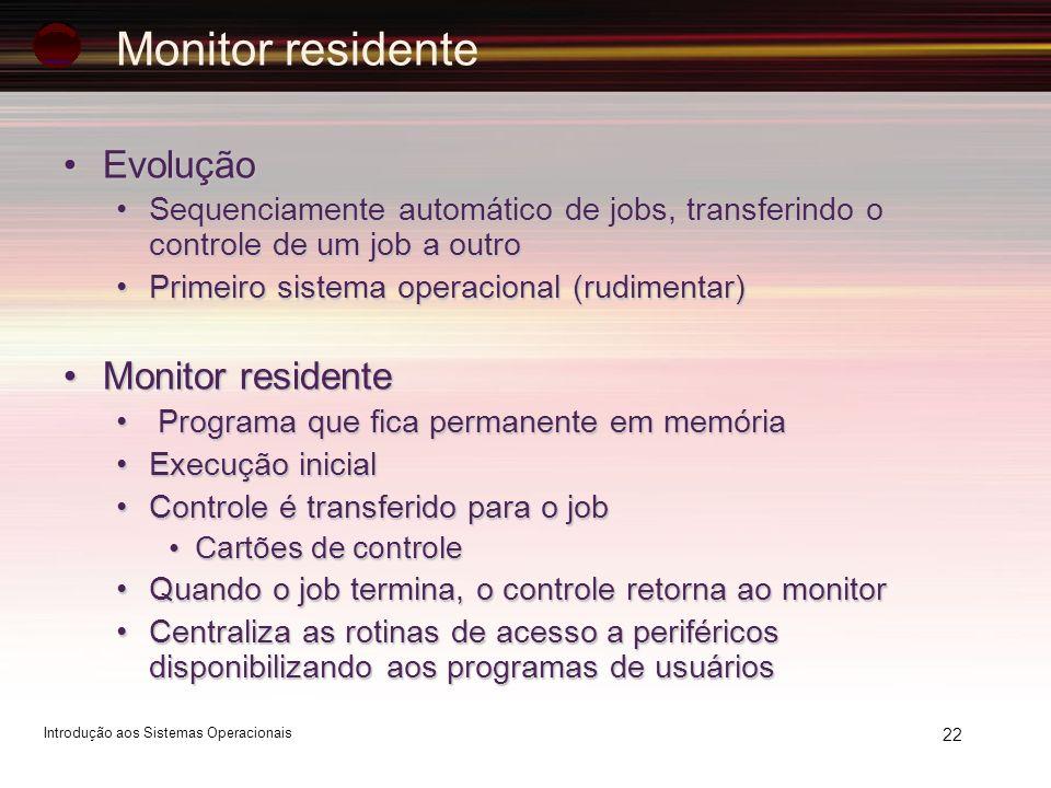 22 Monitor residente EvoluçãoEvolução Sequenciamente automático de jobs, transferindo o controle de um job a outroSequenciamente automático de jobs, t