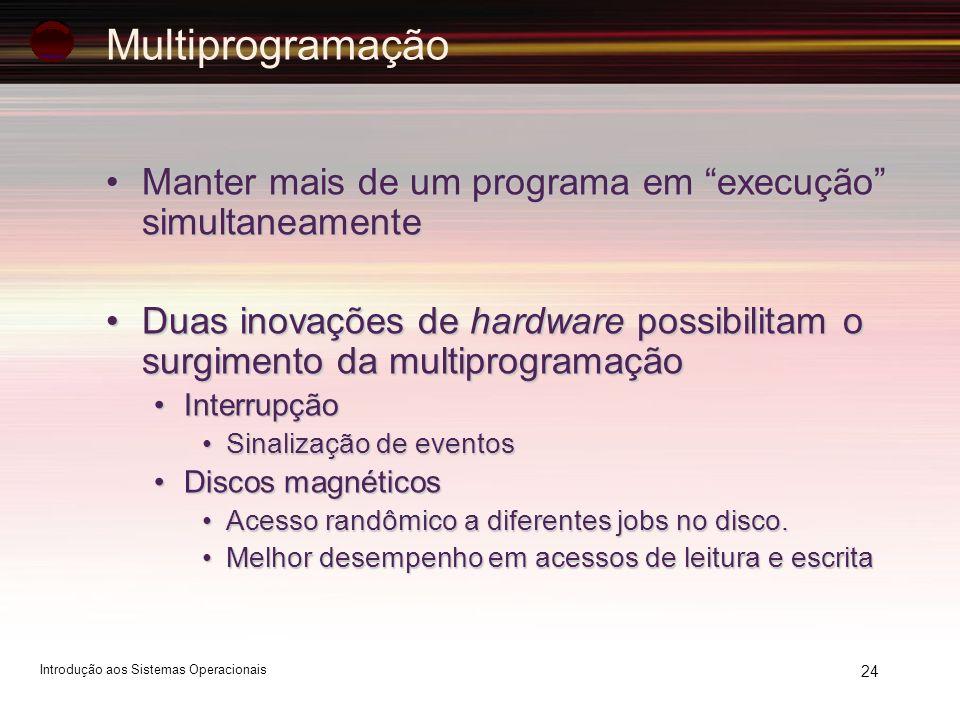 24 Multiprogramação Manter mais de um programa em execução simultaneamenteManter mais de um programa em execução simultaneamente Duas inovações de har