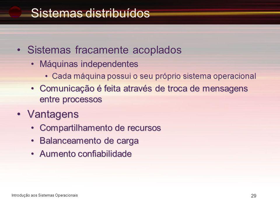 29 Sistemas fracamente acopladosSistemas fracamente acoplados Máquinas independentesMáquinas independentes Cada máquina possui o seu próprio sistema o