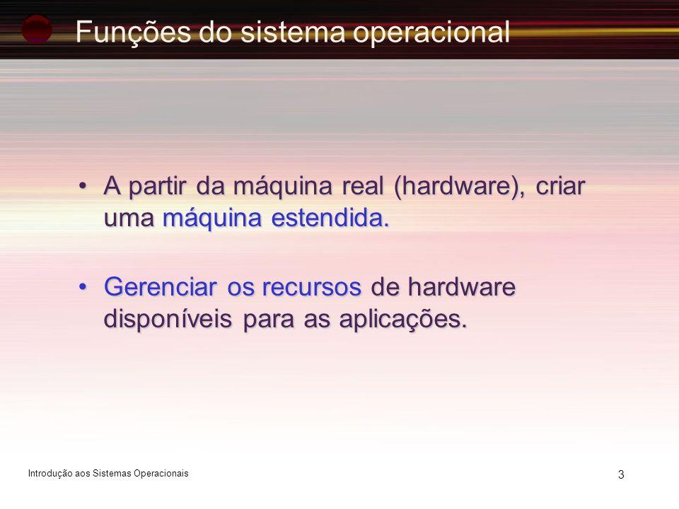 Funções do sistema operacional A partir da máquina real (hardware), criar uma máquina estendida.A partir da máquina real (hardware), criar uma máquina