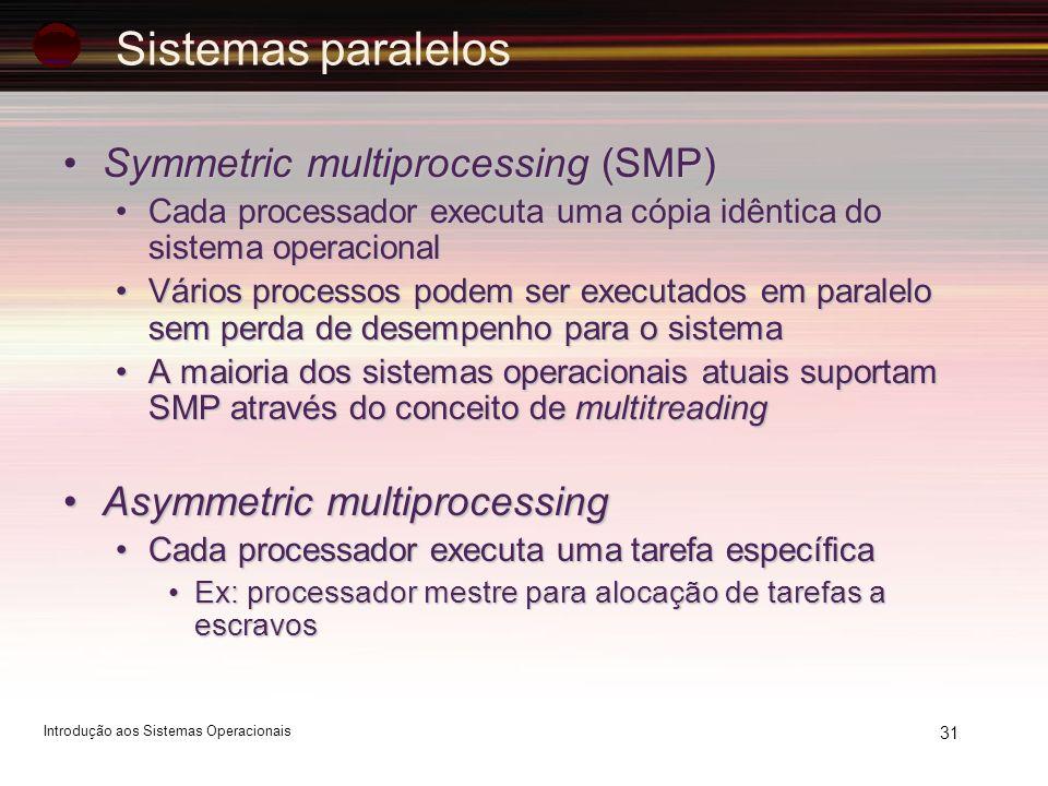 31 Symmetric multiprocessing (SMP)Symmetric multiprocessing (SMP) Cada processador executa uma cópia idêntica do sistema operacionalCada processador e