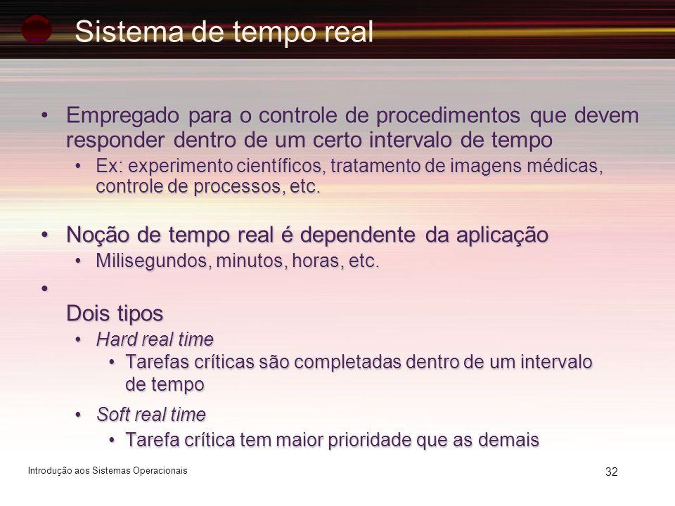 32 Sistema de tempo real Empregado para o controle de procedimentos que devem responder dentro de um certo intervalo de tempoEmpregado para o controle