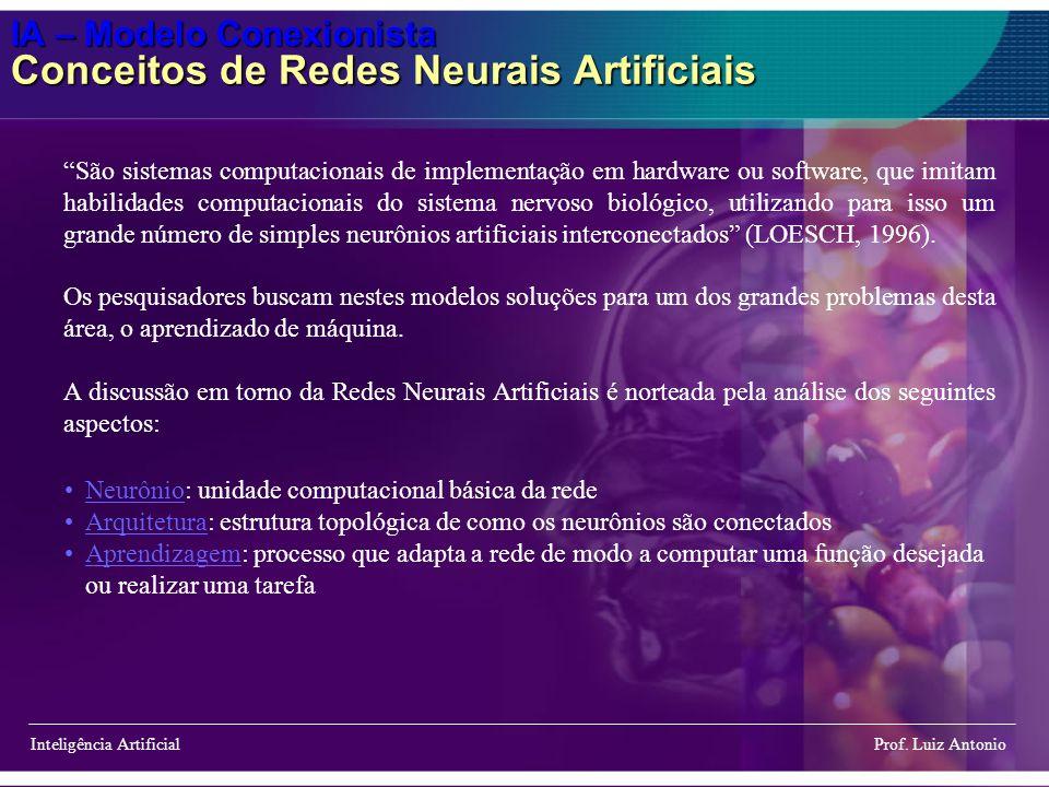 IA – Modelo Conexionista Conceitos de Redes Neurais Artificiais Inteligência Artificial Prof. Luiz Antonio São sistemas computacionais de implementaçã