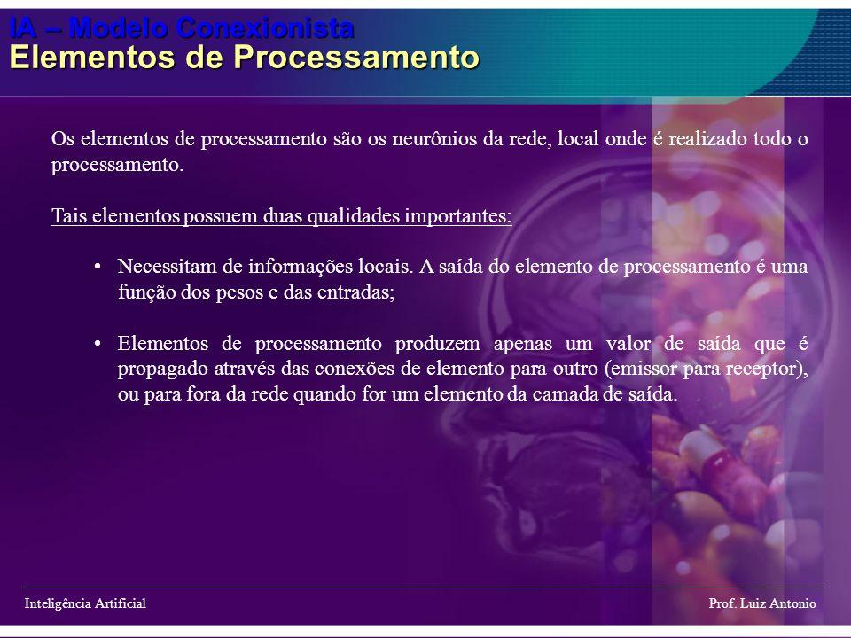 IA – Modelo Conexionista Elementos de Processamento Inteligência Artificial Prof. Luiz Antonio Os elementos de processamento são os neurônios da rede,