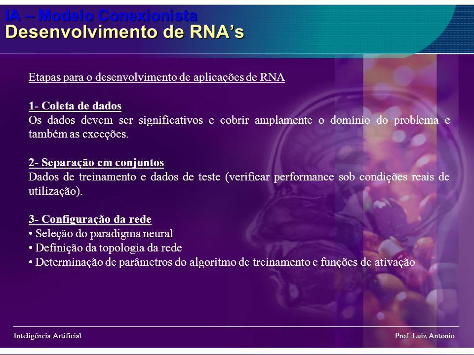 IA – Modelo Conexionista Desenvolvimento de RNAs Inteligência Artificial Prof. Luiz Antonio Etapas para o desenvolvimento de aplicações de RNA 1- Cole
