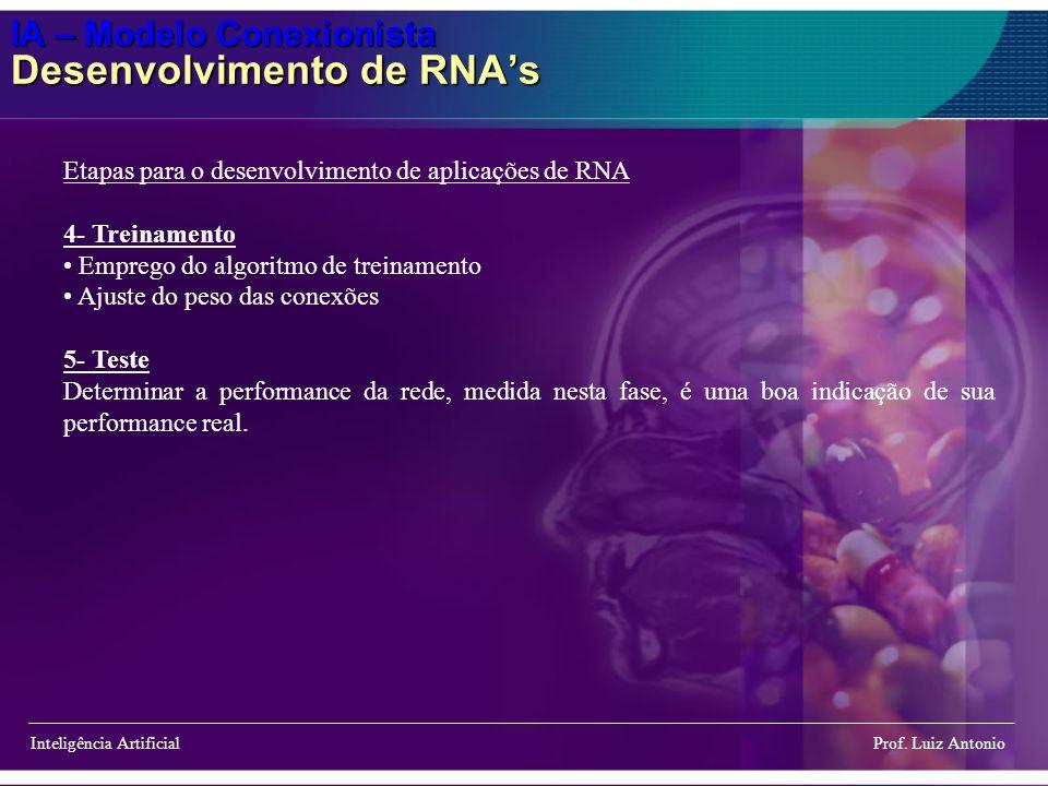 IA – Modelo Conexionista Desenvolvimento de RNAs Inteligência Artificial Prof. Luiz Antonio Etapas para o desenvolvimento de aplicações de RNA 4- Trei