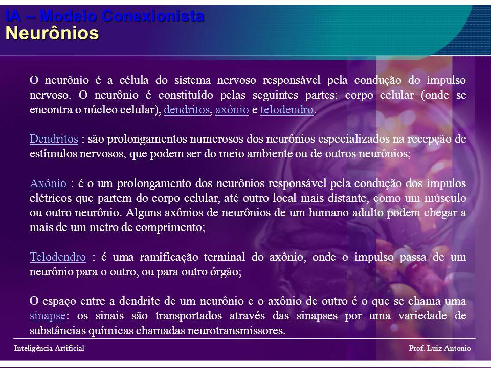 IA – Modelo Conexionista Neurônios Inteligência Artificial Prof. Luiz Antonio O neurônio é a célula do sistema nervoso responsável pela condução do im