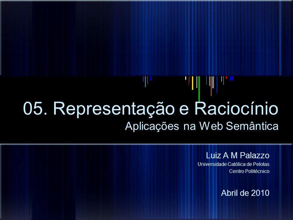 05. Representação e Raciocínio Aplicações na Web Semântica Luiz A M Palazzo Universidade Católica de Pelotas Centro Politécnico Abril de 2010