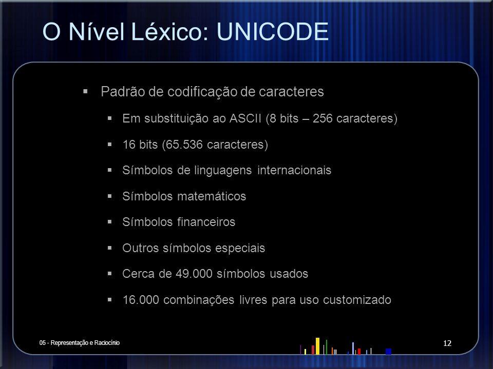 O Nível Léxico: UNICODE 05 - Representação e Raciocínio 12 Padrão de codificação de caracteres Em substituição ao ASCII (8 bits – 256 caracteres) 16 b