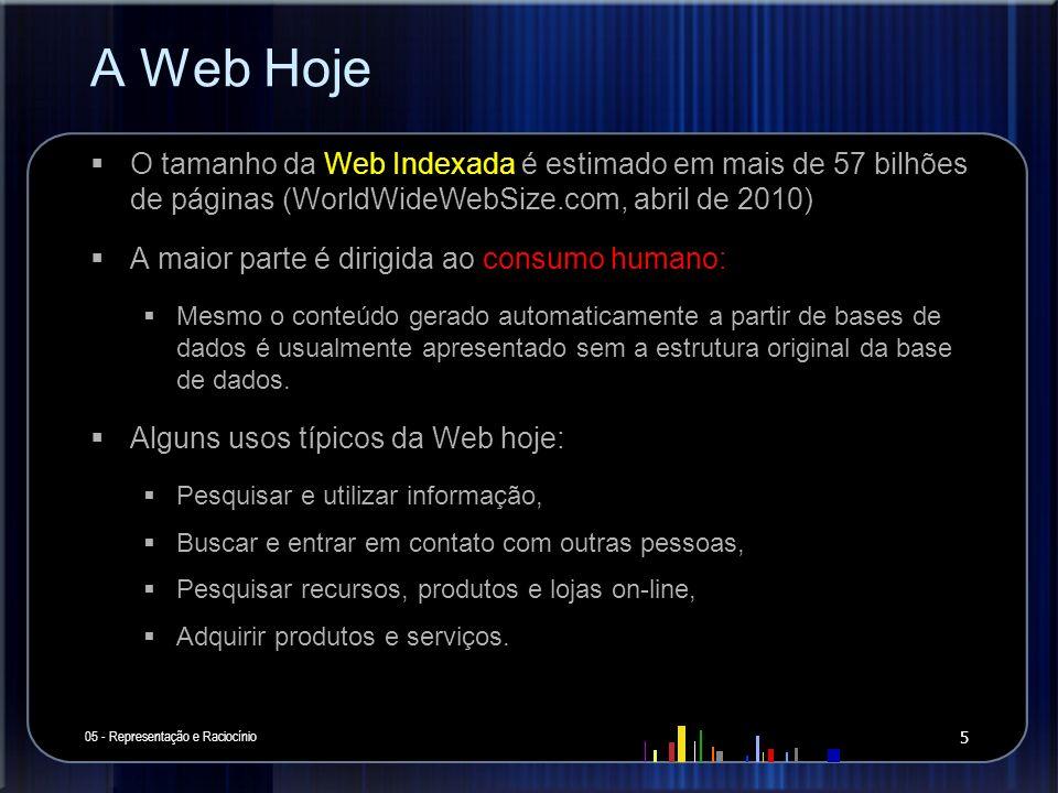 A Web Hoje O tamanho da Web Indexada é estimado em mais de 57 bilhões de páginas (WorldWideWebSize.com, abril de 2010) A maior parte é dirigida ao con