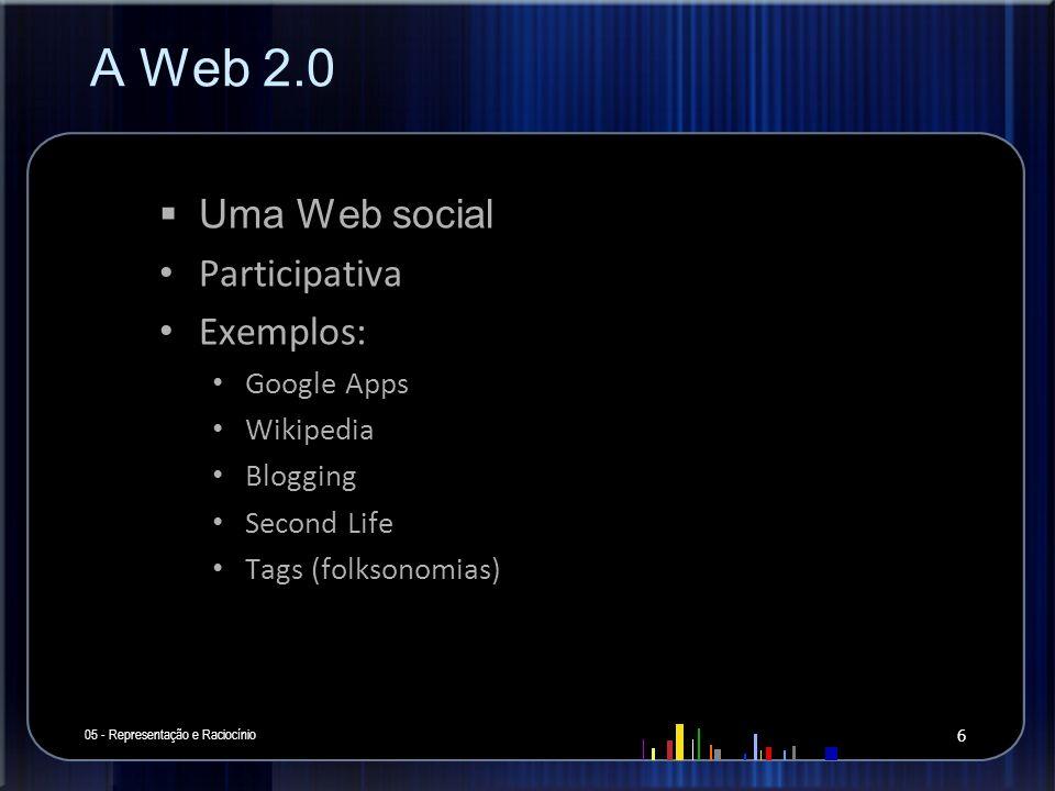 A Web 2.0 Uma Web social Participativa Exemplos: Google Apps Wikipedia Blogging Second Life Tags (folksonomias) 05 - Representação e Raciocínio 6