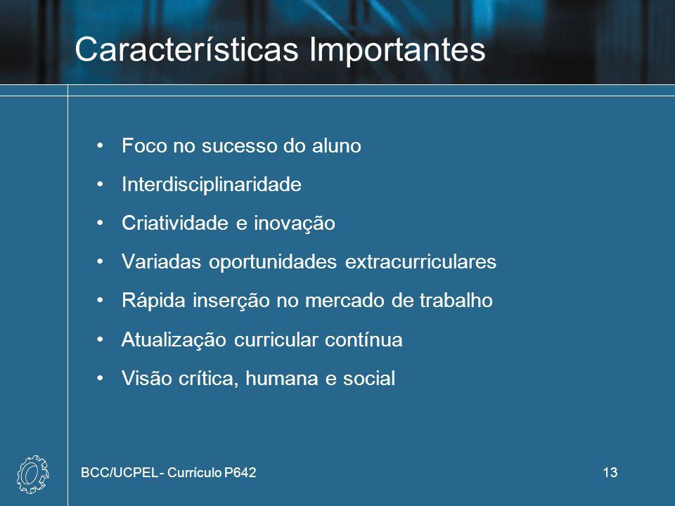 Características Importantes Foco no sucesso do aluno Interdisciplinaridade Criatividade e inovação Variadas oportunidades extracurriculares Rápida ins