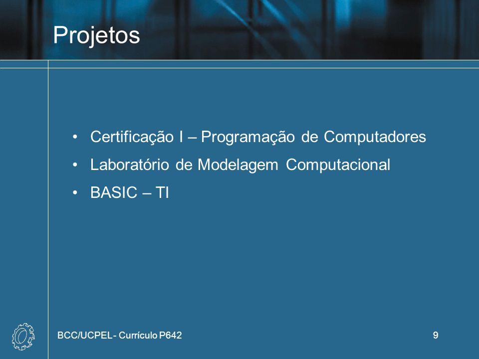 Projetos Certificação I – Programação de Computadores Laboratório de Modelagem Computacional BASIC – TI BCC/UCPEL - Currículo P6429