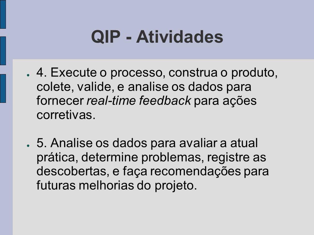 QIP - Atividades 4. Execute o processo, construa o produto, colete, valide, e analise os dados para fornecer real-time feedback para ações corretivas.