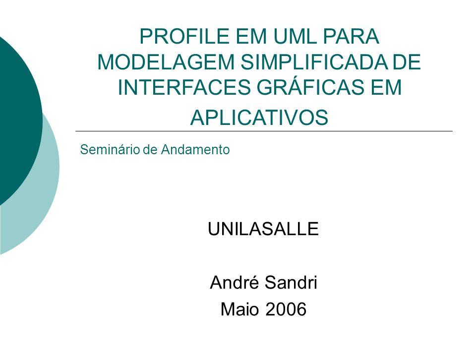 Seminário de Andamento UNILASALLE André Sandri Maio 2006 PROFILE EM UML PARA MODELAGEM SIMPLIFICADA DE INTERFACES GRÁFICAS EM APLICATIVOS