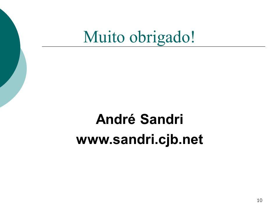 10 Muito obrigado! André Sandri www.sandri.cjb.net