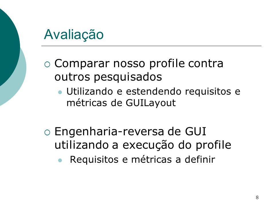 8 Avaliação Comparar nosso profile contra outros pesquisados Utilizando e estendendo requisitos e métricas de GUILayout Engenharia-reversa de GUI util