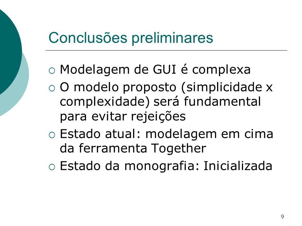 9 Conclusões preliminares Modelagem de GUI é complexa O modelo proposto (simplicidade x complexidade) será fundamental para evitar rejeições Estado at