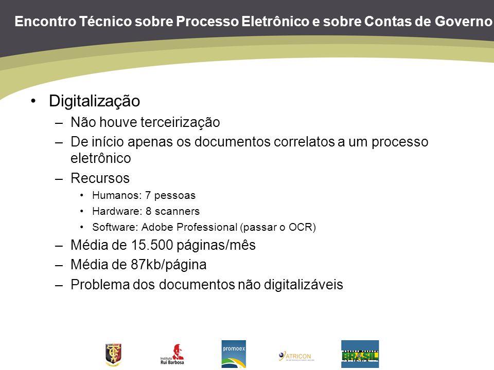 Encontro Técnico sobre Processo Eletrônico e sobre Contas de Governo Digitalização –Não houve terceirização –De início apenas os documentos correlatos