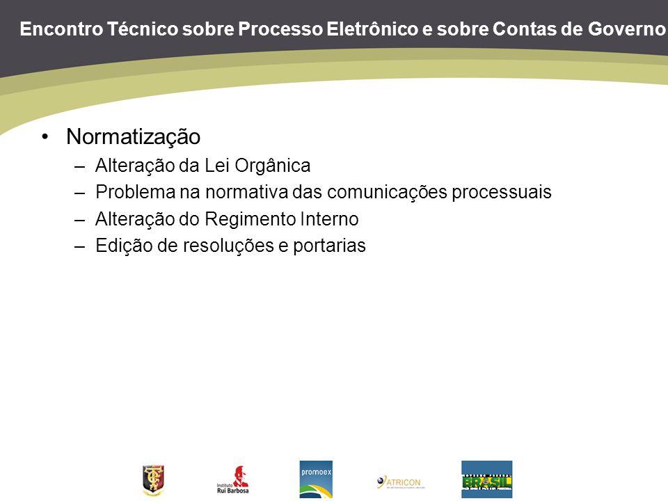 Encontro Técnico sobre Processo Eletrônico e sobre Contas de Governo Normatização –Alteração da Lei Orgânica –Problema na normativa das comunicações p