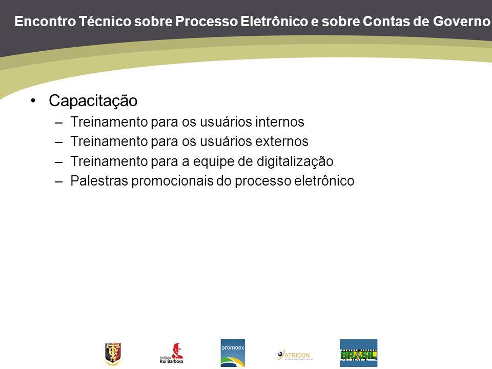 Encontro Técnico sobre Processo Eletrônico e sobre Contas de Governo Certificação eletrônica –Certificação eletrônica por login e senha Autenticidade: garantida Integridade: acrescentamos a utilização de um código hash por documento Não repúdio: garantido Quem garante as informações é o próprio tribunal –Cadastro presencial dos usuários externos –Planejamento de implantação da assinatura digital por certificados da ICP-Brasil Terceirizar