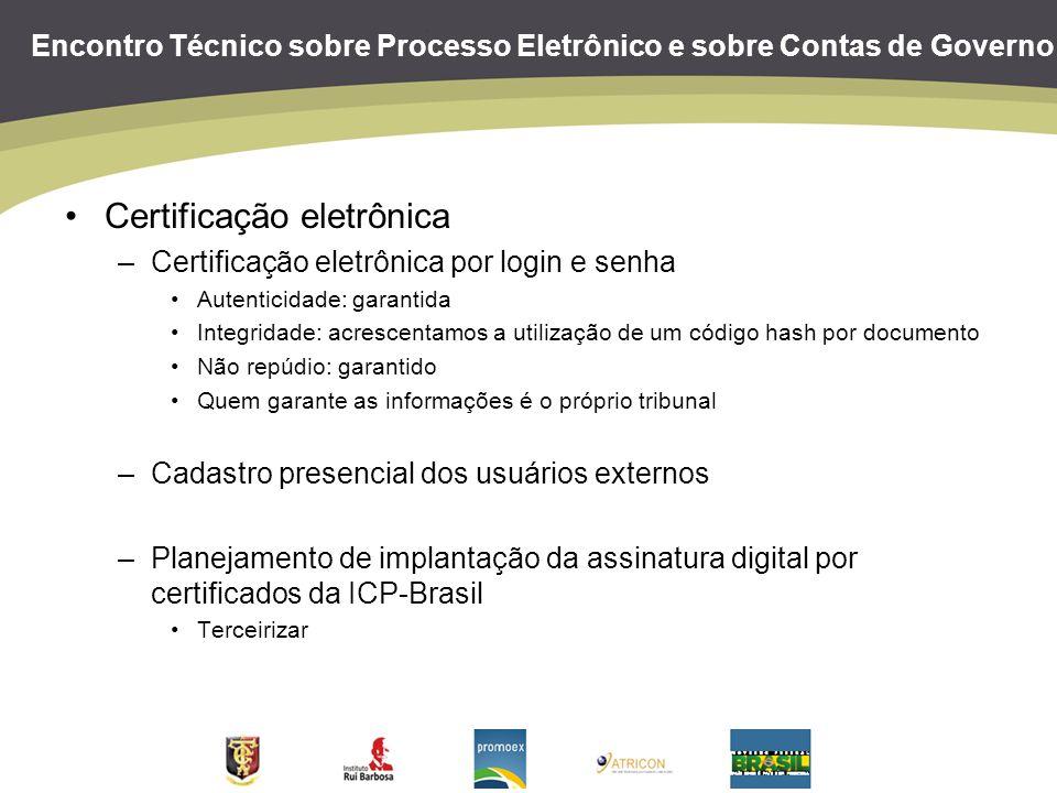 Encontro Técnico sobre Processo Eletrônico e sobre Contas de Governo Certificação eletrônica –Certificação eletrônica por login e senha Autenticidade: