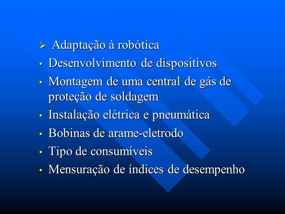Adaptação à robótica Adaptação à robótica Desenvolvimento de dispositivos Desenvolvimento de dispositivos Montagem de uma central de gás de proteção d