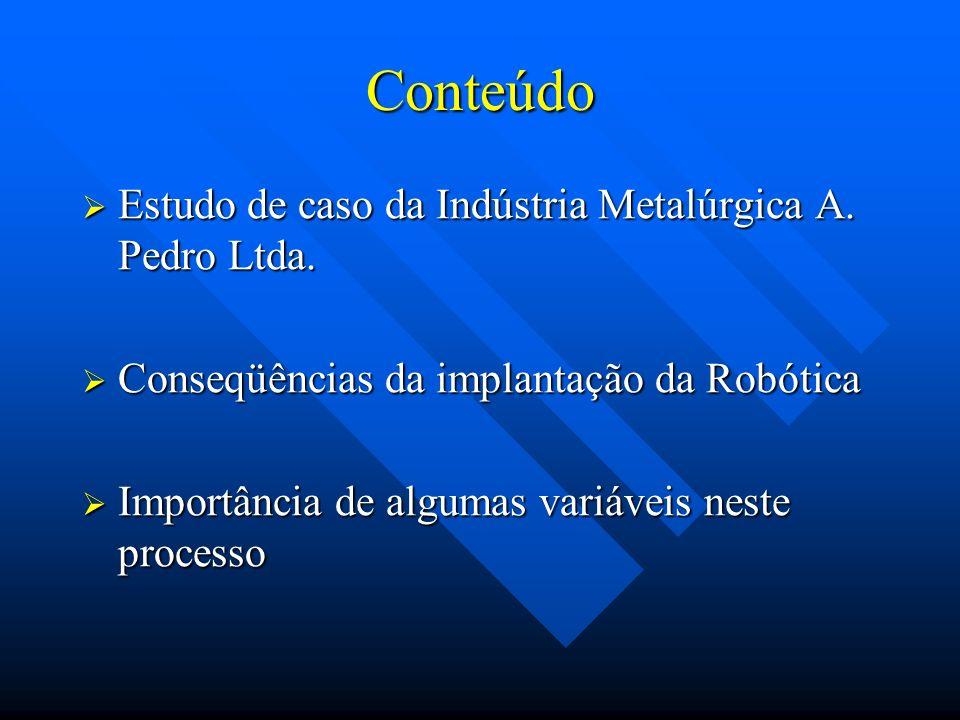 Conteúdo Estudo de caso da Indústria Metalúrgica A. Pedro Ltda. Estudo de caso da Indústria Metalúrgica A. Pedro Ltda. Conseqüências da implantação da