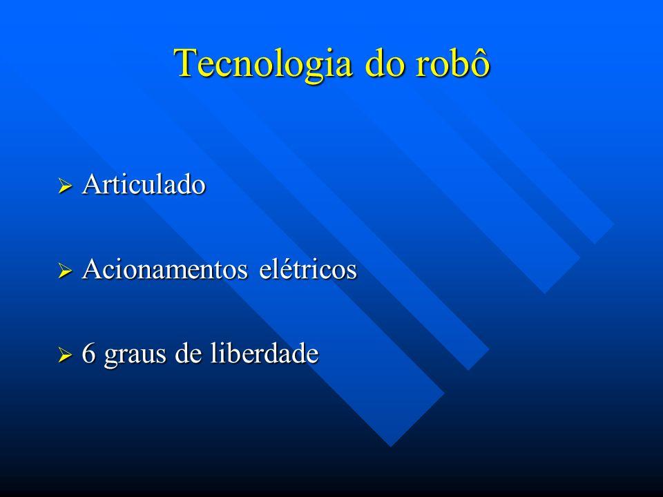 Tecnologia do robô Articulado Articulado Acionamentos elétricos Acionamentos elétricos 6 graus de liberdade 6 graus de liberdade