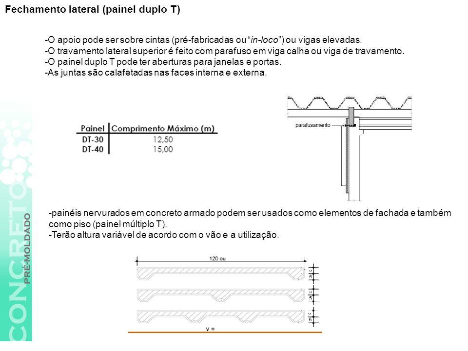 -O apoio pode ser sobre cintas (pré-fabricadas ou in-loco) ou vigas elevadas.