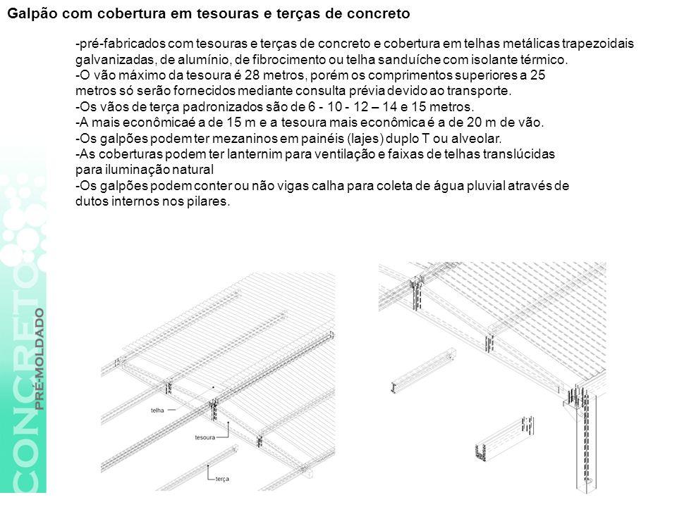 Galpão com cobertura em tesouras e terças de concreto -pré-fabricados com tesouras e terças de concreto e cobertura em telhas metálicas trapezoidais galvanizadas, de alumínio, de fibrocimento ou telha sanduíche com isolante térmico.