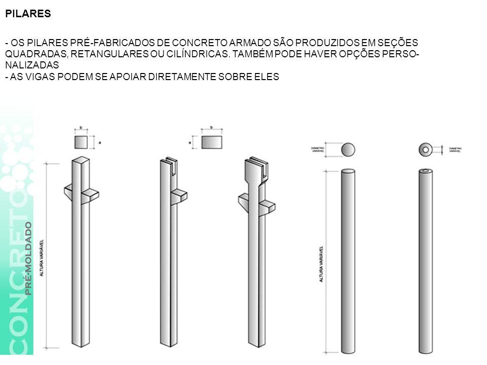 -Pilares, podendo ter um duto central para escoamento de águas pluviais.