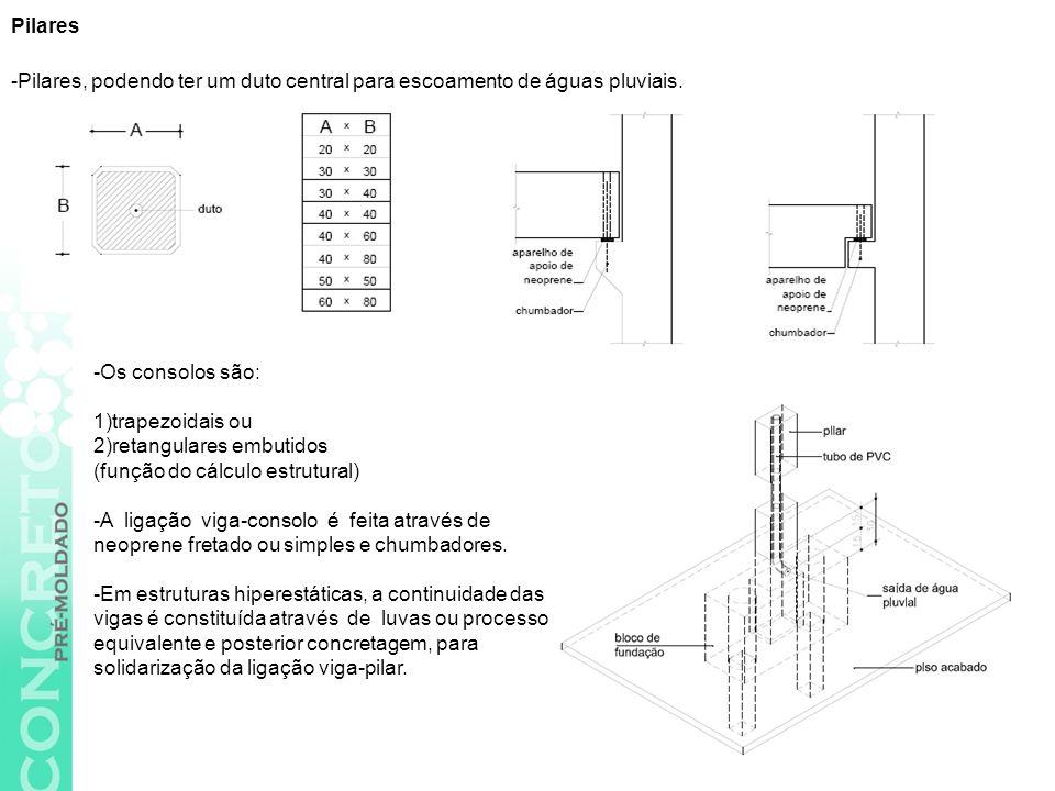 -pré-fabricadas em concreto protendido -utilizadas para grandes vãos.