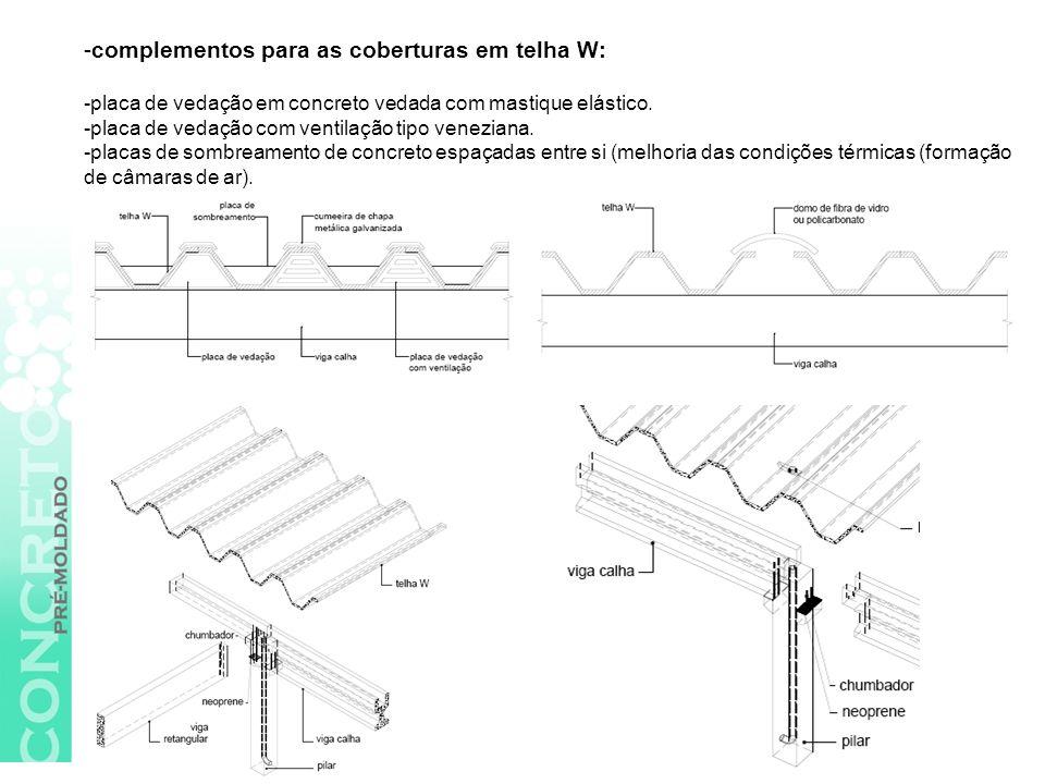 -complementos para as coberturas em telha W: -placa de vedação em concreto vedada com mastique elástico.