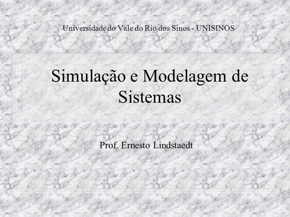 Simulação e Modelagem de Sistemas Universidade do Vale do Rio dos Sinos - UNISINOS Prof. Ernesto Lindstaedt
