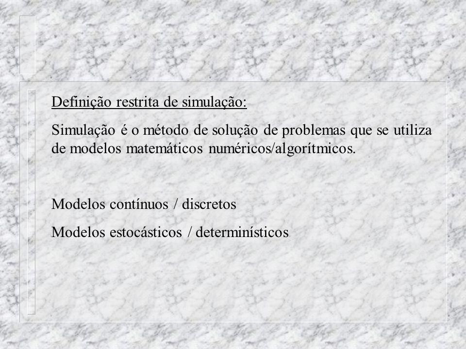 Definição restrita de simulação: Simulação é o método de solução de problemas que se utiliza de modelos matemáticos numéricos/algorítmicos. Modelos co