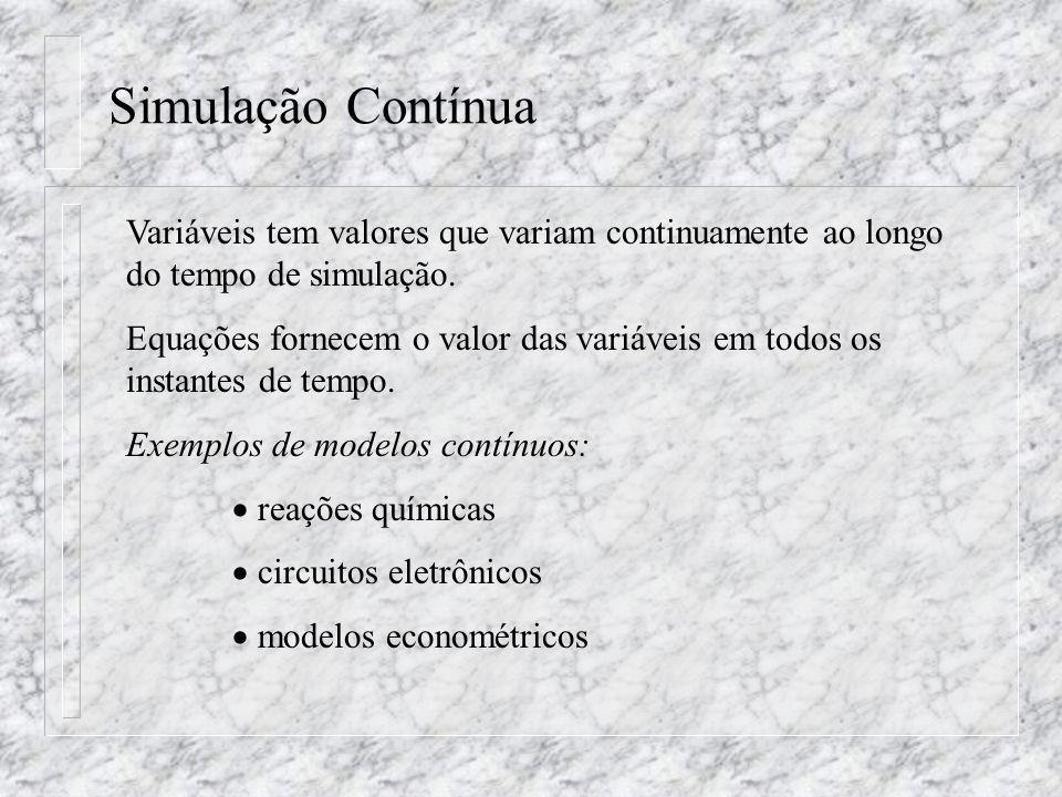 Simulação Contínua Variáveis tem valores que variam continuamente ao longo do tempo de simulação. Equações fornecem o valor das variáveis em todos os