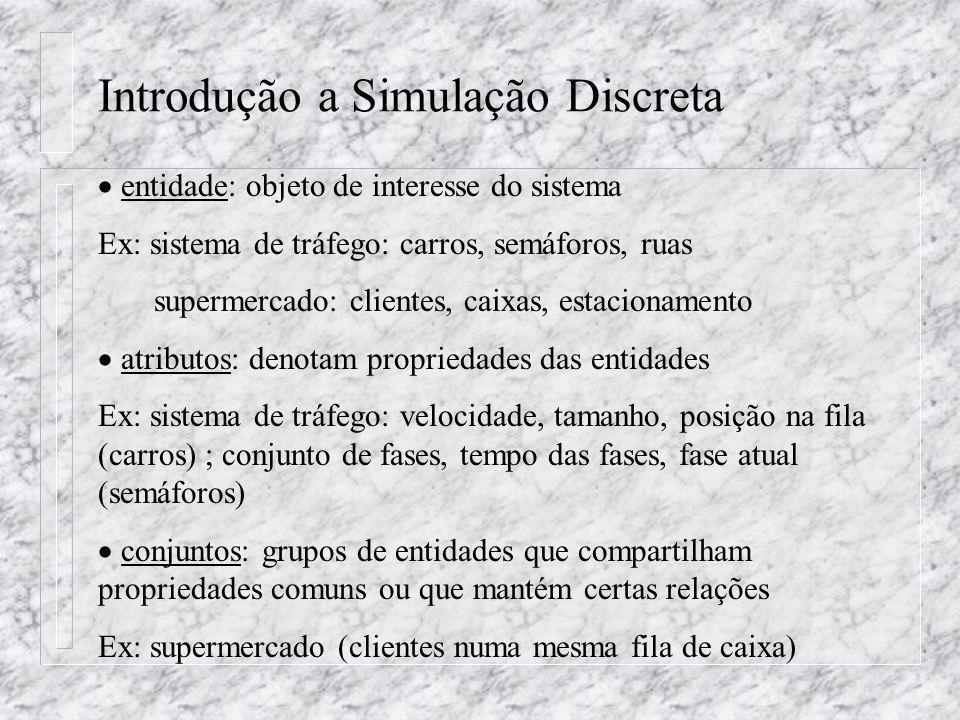 Introdução a Simulação Discreta entidade: objeto de interesse do sistema Ex: sistema de tráfego: carros, semáforos, ruas supermercado: clientes, caixa