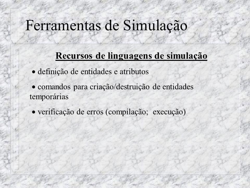 Ferramentas de Simulação Recursos de linguagens de simulação definição de entidades e atributos comandos para criação/destruição de entidades temporár