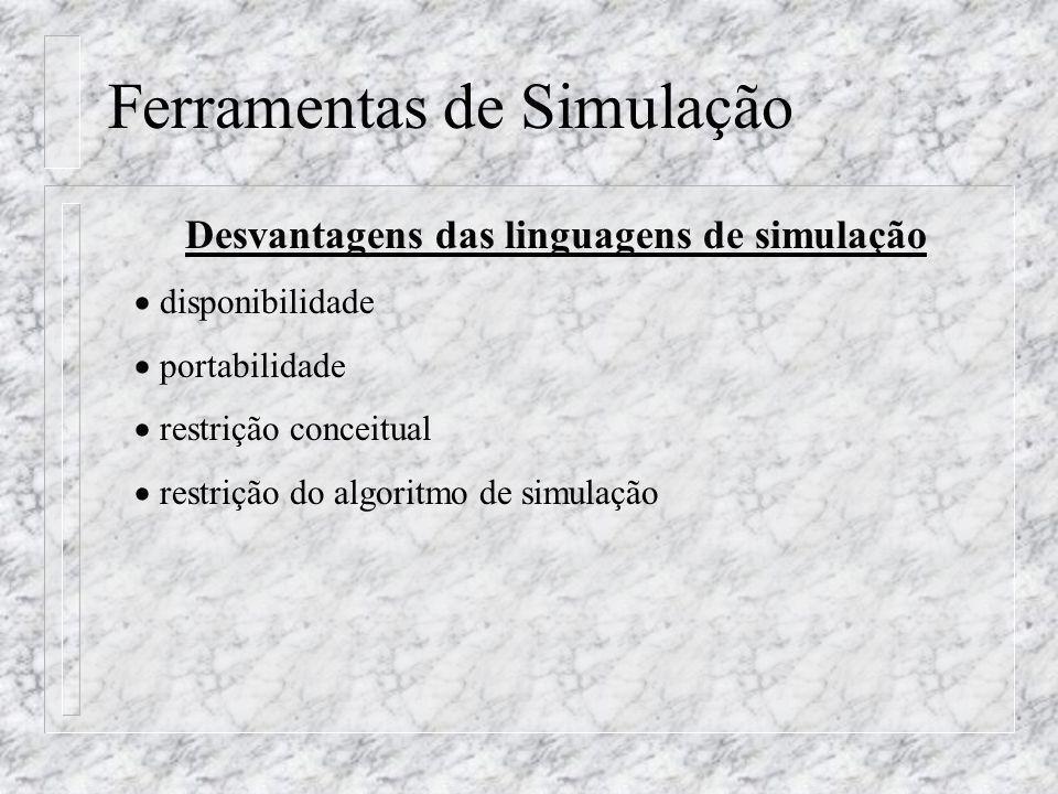 Ferramentas de Simulação Desvantagens das linguagens de simulação disponibilidade portabilidade restrição conceitual restrição do algoritmo de simulaç