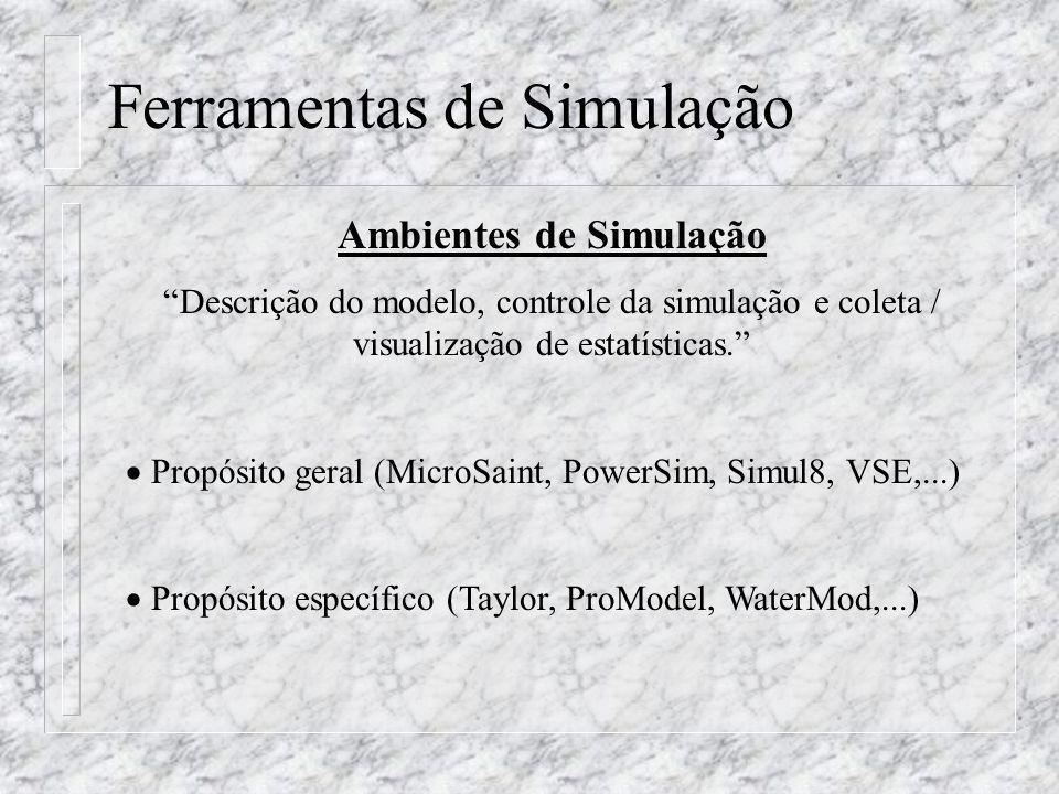 Ferramentas de Simulação Ambientes de Simulação Descrição do modelo, controle da simulação e coleta / visualização de estatísticas. Propósito geral (M