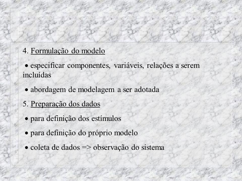 4. Formulação do modelo especificar componentes, variáveis, relações a serem incluídas abordagem de modelagem a ser adotada 5. Preparação dos dados pa